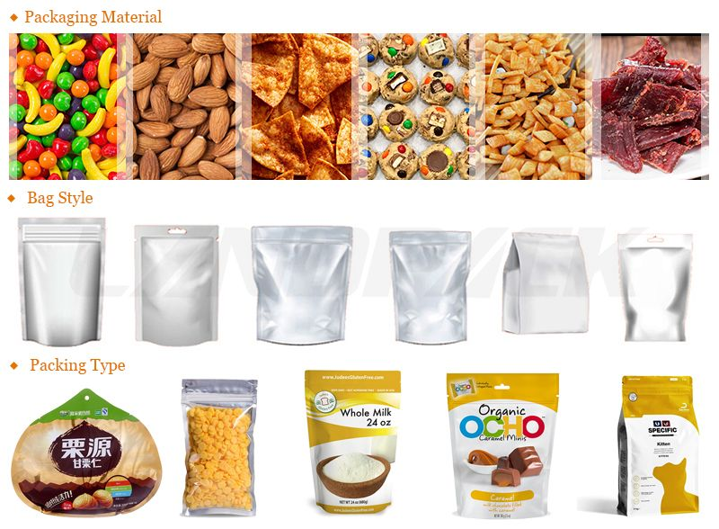 Nuts Zipper Pouch Rotary Packing Machine With Multihead Weigher