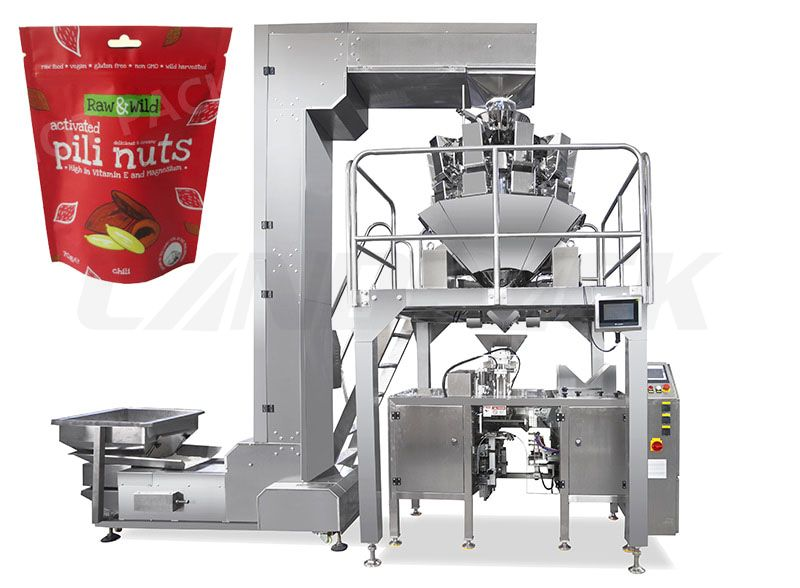 Nut Mini Doypack Packaging Machine Z Type Bucket Elevator And Multihead Weigher