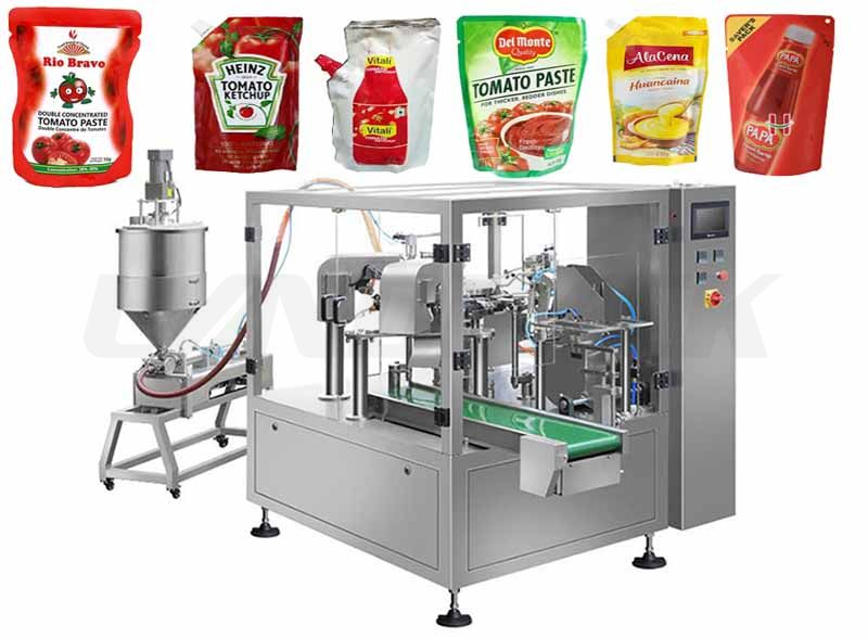 Automatic Premade Pouch Rotary Filling Machine for Liquid/ Paste/ Sauce/ Ketchup etc