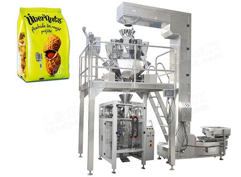 Automatic Quad Seal Bag/ Block Bottom Pouch Packing Machine with multi-head weigher