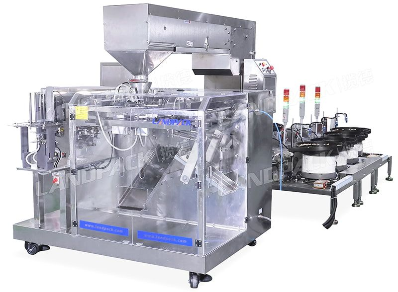Horizontal Mixed Nuts Premade Pouch Packing Machine With Multiple Vibration Disks