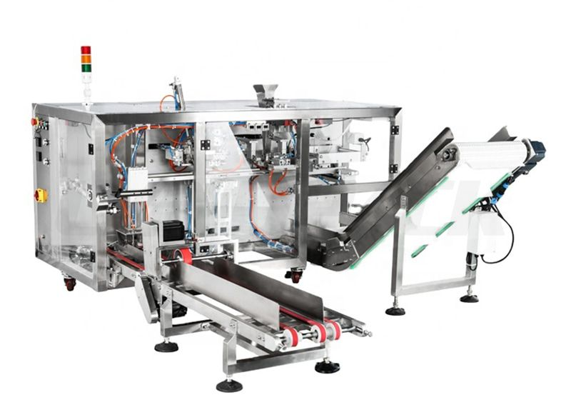 Horizontal 4 Station Mini Doypack Premade Ready Preformed Pouch Packing Machine
