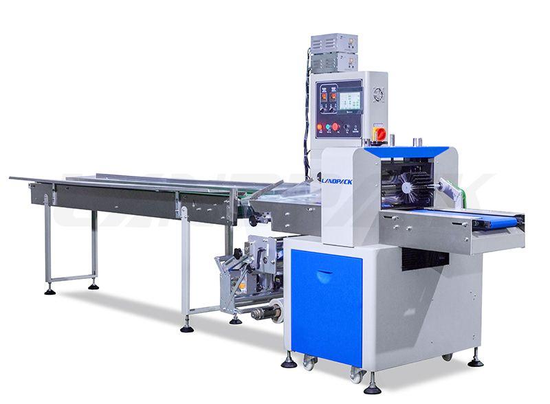 Autoamtic Horizontal Flow Wrap Machine With Three Servos